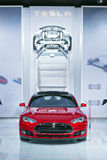 Esposizione automatica 2015 del modello S Detroit di Tesla Fotografia Stock
