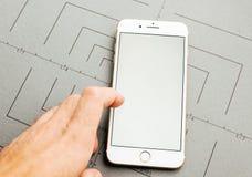 Esposizione bianca, sul iPhone 7 più il software applicativo Fotografia Stock