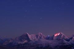 Esposizione chiara su Jungfrau Fotografia Stock
