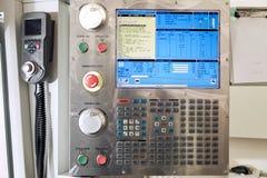 Esposizione con il codice e proprietà per la macchina di CNC Immagini Stock Libere da Diritti