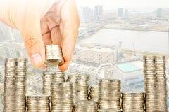 Esposizione concetto di attività bancarie dei soldi di risparmio e di finanza fotografie stock libere da diritti