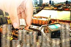 Esposizione concetto di attività bancarie dei soldi di risparmio e di finanza immagine stock