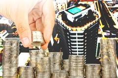 Esposizione concetto di attività bancarie dei soldi di risparmio e di finanza fotografie stock
