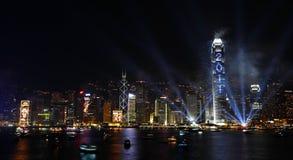 Esposizione dei fuochi d'artificio di conto alla rovescia a Hong Kong Immagini Stock