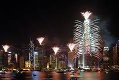 Esposizione dei fuochi d'artificio di conto alla rovescia a Hong Kong Fotografia Stock Libera da Diritti