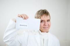 Esposizione del documento della signora applicazione Fotografia Stock