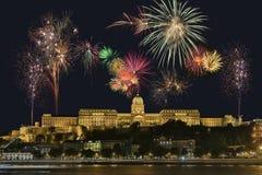 Esposizione del fuoco d'artificio di Budapest - Ungheria Fotografia Stock