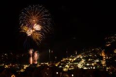 Esposizione del fuoco d'artificio a Queenstown Fotografie Stock Libere da Diritti