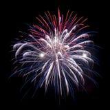 Esposizione del fuoco d'artificio sul fiume Mississippi Fotografie Stock Libere da Diritti