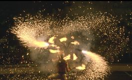 Esposizione del fuoco del circo Fotografie Stock Libere da Diritti