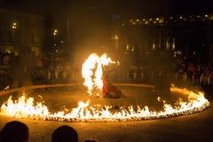 Esposizione del fuoco di Entre Terre et di Ciel Fotografie Stock