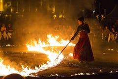Esposizione del fuoco di Entre Terre et di Ciel Fotografie Stock Libere da Diritti