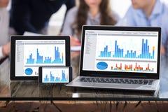 Esposizione del grafico sullo schermo moderno degli apparecchi elettronici Fotografie Stock Libere da Diritti