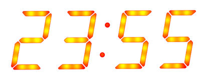 Esposizione dell'orologio di Digitahi cinque minuti a dodici Fotografia Stock Libera da Diritti