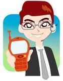 Esposizione dell'uomo d'affari il suo cell-phone Immagine Stock
