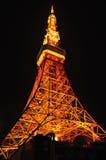 Esposizione della luce arancio alla torre di Tokyo a Tokyo, Giappone Immagini Stock