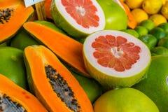 Esposizione della papaia e del pompelmo Fotografia Stock Libera da Diritti
