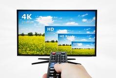 esposizione della televisione 4K con telecomando Fotografia Stock