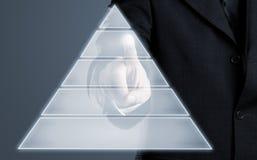 Esposizione dello schermo attivabile al tatto di Infogram con lo spazio della copia Immagine Stock