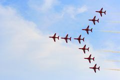 Esposizione di aria rossa delle frecce Immagini Stock Libere da Diritti