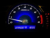 Esposizione di controllo di distanza in miglia dell'automobile di velocità Immagini Stock