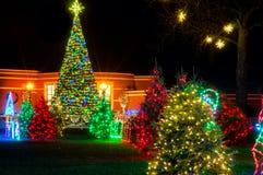Esposizione di Natale del villaggio Immagine Stock