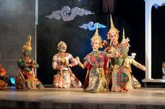 Esposizione Khon-Tailandese di ballo di dramma della coltura Fotografia Stock Libera da Diritti
