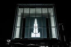 Esposizione leggera drammatica Ulm Germania dell'entrata di Kunsthalle Weishaupt Fotografia Stock