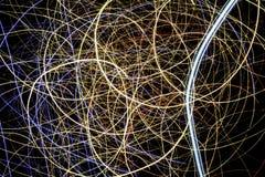 Esposizione leggera gialla, rossa e blu, laser colorato Immagini Stock