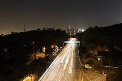 Esposizione lunga 01 dell'orizzonte di Los Angeles Immagini Stock Libere da Diritti