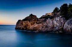 Esposizione lunga ad una casa in Mallorca fotografia stock
