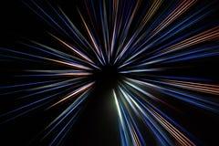 Esposizione lunga astratta, linee variopinte fondo di moto di velocità fotografie stock libere da diritti