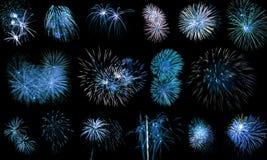 Esposizione lunga dei fuochi d'artificio blu Fotografia Stock Libera da Diritti