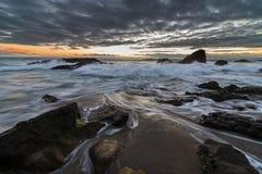 Esposizione lunga del Laguna Beach Fotografie Stock Libere da Diritti