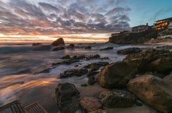 Esposizione lunga del Laguna Beach Immagine Stock