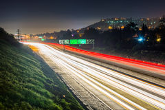 Esposizione lunga dell'itinerario 125 di California alla notte, in La Mesa, Cali Fotografia Stock Libera da Diritti