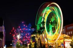 Esposizione lunga dell'Natale Ferris Wheel Decoration in Colonia, Germania Fotografia Stock Libera da Diritti