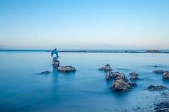 Esposizione lunga della statua del delfino nell'acqua in Sardegna -  Fotografie Stock Libere da Diritti