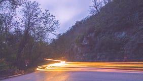 Esposizione lunga di circolazione al crepuscolo nel parco nazionale del pisgah immagine stock libera da diritti