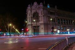 Esposizione lunga a Madrid Immagine Stock