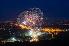 Esposizione variopinta dei fuochi d'artificio a Chiangmai Fotografia Stock