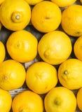 Esposizione variopinta dei limoni nel mercato Fotografia Stock