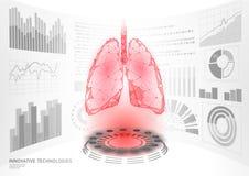 esposizione virtuale di HUD UI di operazione della chirurgia laser dei poli polmoni sani umani bassi 3D Medicina poligonale di te illustrazione vettoriale
