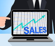 Esposizioni del grafico del grafico di vendite che aumentano commercio di profitti Immagine Stock Libera da Diritti