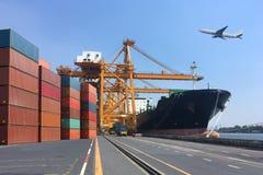 Esposizioni multiple di trasporto di affari, logistica, camice del fondo di industria immagini stock libere da diritti
