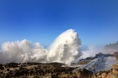 Espray de ondas enormes en el parque de estado de los acres de la orilla, Oregon fotografía de archivo