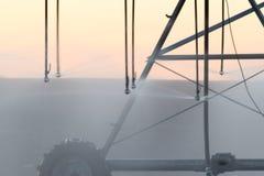 Esprayes de la irrigación en campo en la salida del sol Fotografía de archivo libre de regalías
