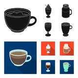 Esprecco, glase, milk shake, bicerin.Different types of coffee set collection icons in black, flat style vector symbol. Stock illustration Stock Photography