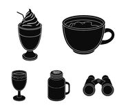 Esprecco, glase, milk shake, bicerin.Different types of coffee set collection icons in black style vector symbol stock. Illustration Royalty Free Stock Photos