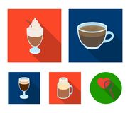 Esprecco, glase, milk shake, bicerin.Different types of coffee set collection icons in flat style vector symbol stock. Illustration Royalty Free Stock Photo
